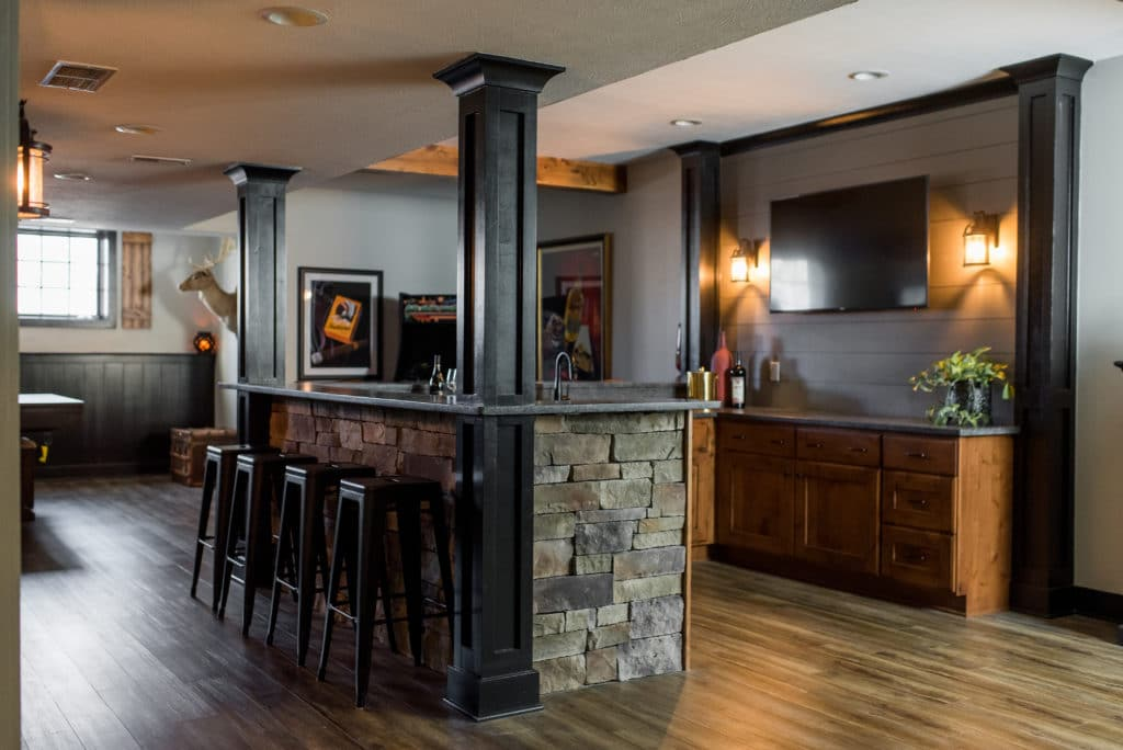 basement remodeling with bar